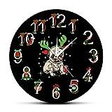 Usmnxo 12 Pulgadas (30 cm) Ciervo Pug Perro Cachorro Feliz Navidad Reloj de Pared Reloj asta decoración navideña Regalo para niños sin Marco