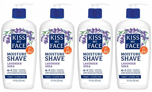 Kiss My Face Lavender & Shea Butter Moisture Shave, 11-Ounce Pumps (Pack of 4)