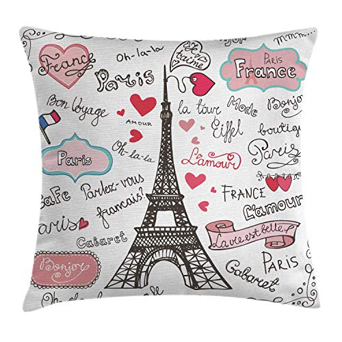 Eiffel Tower Throw Pillow Cushion Cover, Paris Lettering Heart Shapes Flag Ornamental Sketchy Doodle, Decorative Square Accent Pillow Case 18inch*18inch