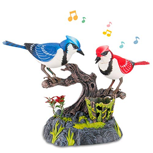 Liberty Imports Singing and Chirping Birds - Realistic Sounds and Movements (Blue Jays)