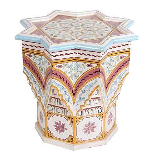 Casa Moro Orientalischer Beistelltisch Riad Beige aus Holz Ø 53cm x Höhe 54 cm | kunstvoll von Hand bemalt | Kunsthandwerk aus Marokko | HM1032
