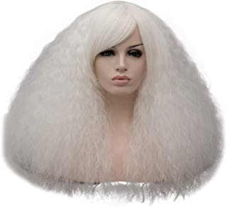 TopWigy Women White Fluffy Cosplay Wig with Fringe 16 Inches Synthetic Heat Resistant Kinky Wig for Halloween Costumes Party