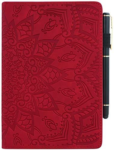 Yobby Kompatibel mit Samsung Galaxy Tab S4 10.5 inch T830/T835 Hülle,Dünn Leicht Ständer Leder Tasche mit Stifthalter,Bunt Blumen Muster Schutzhülle-Rot