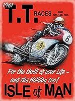 簡素な雑貨屋 TT Races 1961 レトロ調 アメリカンブリキ看板