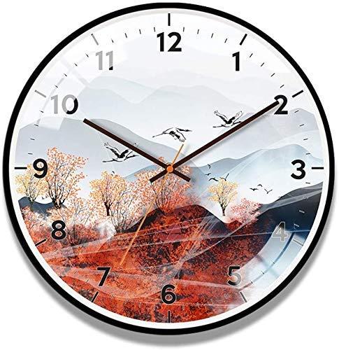 AISHANG Reloj de pared de estilo chino con diseño paisajístico, redondo sin garrapatas, silencioso, reloj de cuarzo, para sala de estar o cocina, color negro 93 pulgadas