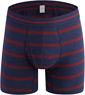 Trolead Men's Sport Strip FLly Front Design Cotton Boxer Brief Breathable Underwear
