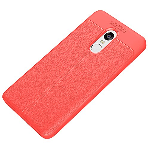 Tianqin Xiaomi Redmi Note4X Funda, Ultra Ligero Case Amortiguaci¨®n Rugged Silicona Ultra Delgado Cubierta Protectora Fibra Carbono Caso para Xiaomi Redmi Note4X Case - Rojo