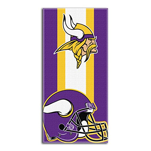 """Officially Licensed NFL Minnesota Vikings 'Zone Read' Beach Towel, 30"""" x 60"""", Multi Color"""