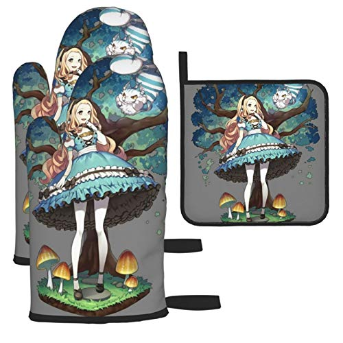 BarbaraHagen Alice In Wonderland - Guantes de anime para horno resistentes al calor, doble soporte para horno con diseño antideslizante de silicona para el hogar y la cocina (juego de 3)