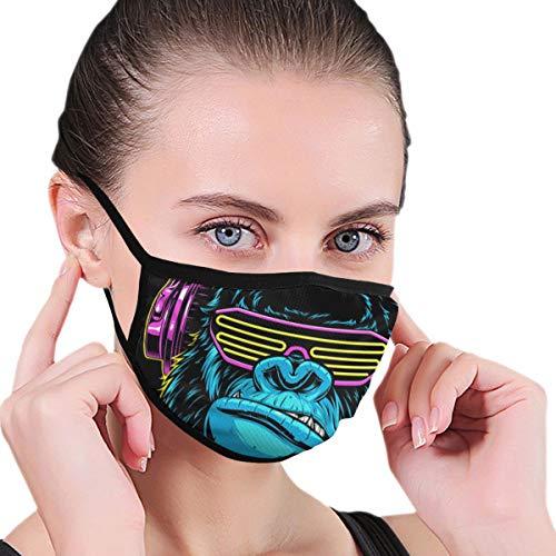 Mundschutz Gorilla mit Kopfhörern, wiederverwendbar, waschbar, Anti-Staub, Unisex, für Herren und Damen, schwarz, Gesichtsschutz, Bandana, Sturmhaube, Radfahren, Outdoor, Sport