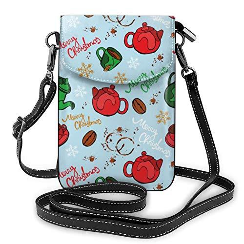Petit sac à bandoulière léger en cuir synthétique pour téléphone portable, vaisselle de Noël, sac à main pour femme - Noir - Noir , Taille unique