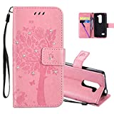 HMTECHUS LG Leon 4G LTE H340N Case 3D Crystal Embossed Love Cat Butterfly Handmade Diamonds Bling PU Flip Stand Card Holders Wallet cover for LG Leon 4G C40 Wishing Tree Pink KT