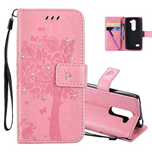 COTDINFOR LG Leon H340N C40 Hülle für Mädchen Elegant Retro Premium PU Lederhülle Handy Tasche mit Magnet Standfunktion Schutz Etui für LG Leon 4G LTE H340N C40 C50 Pink Wishing Tree with Diamond KT.