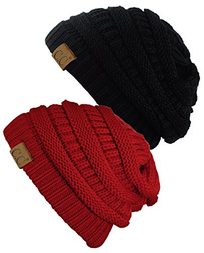 C.C Trendy Warm Chunky Soft Stretch Cable Knit Beanie Skully, 2 Pack Black/Red
