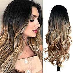 top rated Quantum Love Wig Black to Light Brown Ombre Wig. A long wave wig on the side. Heat resistant synthesis … 2021