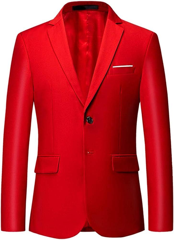 Mens Slim Fit Blazer Jacket Two-Button Notched Lapel Casual Suit Jacket