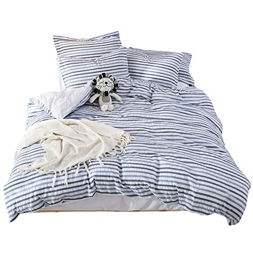 UMI. by Amazon - 100% Cotton Woven Seersucker Stripe Duvet Cover Set,Superking