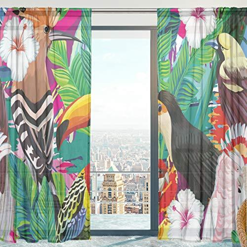 Mnsruu - Cortina de gasa con diseño de hojas de pájaro tropicales para salón, puerta, ventana, 140 x 198 cm, 2 paneles