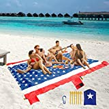Beach Blanket Sandproof ,Oversized 10'x8' for 4-8 Adults Outdoor Picnic Blankets,Sand Free Waterproof Beach Mat,USA Flag Patriotic Theme Compact Durable Outdoor Mat for Vacation,Camping,Park