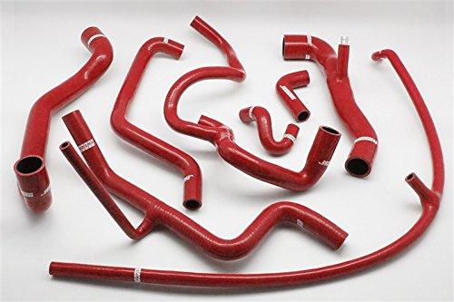 Autobahn88 Kit de calentador de la manguera del silicón, Modelo ASHK157-RD-WC (Rojo - con sistema de abrazadera)