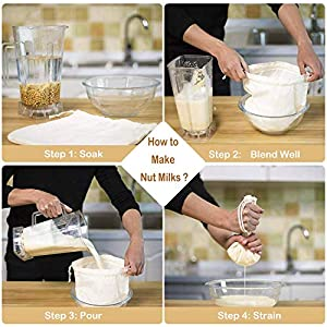 """6 Pack 12""""x12"""" Nut Milk Bags - 100% Unbleached Organic Cotton Cheesecloth, Reusable Food Strainer Colander For Straining Almond/Oat Milk, Celery Juice, Cold Brew Coffee, Yogurt and Cheese Making 