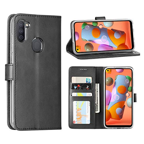 Redluckstar Samsung Galaxy A11 Case (US Version), PU Leather Wallet Flip Cover [3 Card Slots 1 Money Pocket] [Magnetic Closure] [Stand] Shockproof Bumper Folio Phone Case for Galaxy A11 (US) (Black)