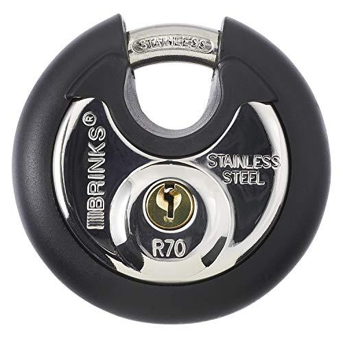 Brinks 673-70001 Commercial Stainless Steel Discus Padlock, Keyed, 70...