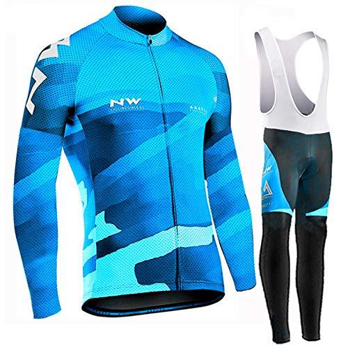 Hplights Maillot de Ciclismo Hombre Camiseta Manga Larga Jersey Ropa para Bicicleta...