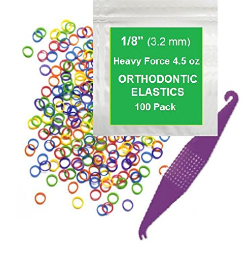 1/8 Inch Orthodontic Elastic Rubber Bands, 100 Pack, Neon, Heavy 4.5 Ounce Small Rubberbands Dreadlocks Hair Braids Fix Tooth Gap, Free Elastic Placer for Braces