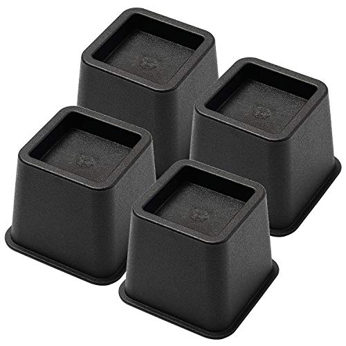 Bed Risers 3 Inch, Heavy Duty Square Furniture Frame Lift for Couch, Chair, Desk, Sofa and Bunk Bedpost, Set of 4, Black