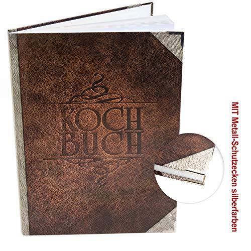 Logbuch-Verlag leeres DIY Kochbuch XXL Rezeptbuch DIN A4 Lederoptik braun Vintage - Buch für eigene Rezepte zum Selberschreiben Geschenkbuch