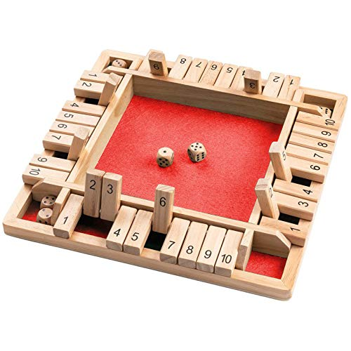 Shut the Box Dice Game, Board Dice Game Mathematic Traditional Pub Bar Board for Kids and Adults Family,Educational Math Learning Toy, Table Dice Game for The Party Family or Bar (4 Players)