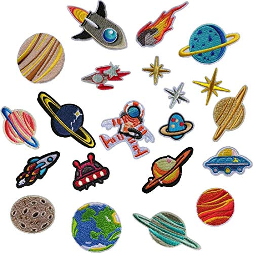 Parches bordados para planchar con diseño de astronauta espacial, para coser o coser en chaquetas, ropa, bolso, zapatos, gorras para niños y adultos 21Pcs