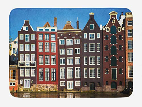 ABAKUHAUS Amsterdam Tappetino da Bagno, Edifici medievali della Città, Vasca Doccia WC Tappeto in Peluche con Supporto Antiscivolo, 45 cm x 75 cm, Multicolore