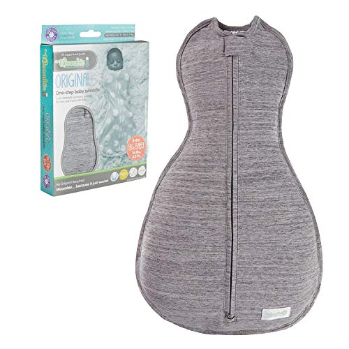 The Original Woombie Baby Swaddling Blanket I Soothing, Cotton Baby Swaddle I Wearable Baby Blanket, Twilight Heather Gray, 14-19 lbs