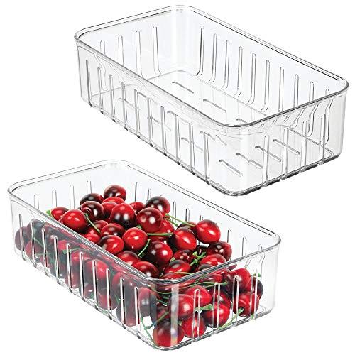mDesign Set da 2 contenitori alimenti senza coperchio – Pratico modello di contenitori in plastica per alimenti di ogni tipo – Contenitore frigo multiuso con aperture laterali – trasparente
