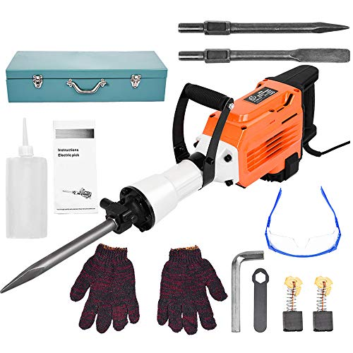 3500W Electric Breaker w/Tool Kit - Demolition Hammer Drill for Concrete, 1550 RPM Jack Hammer Demolition Drills with Flat Chisel Bull Point Chisel