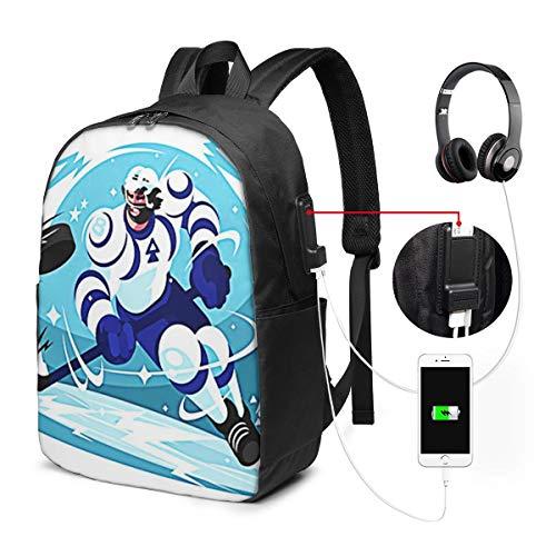 Laptop Rucksack Business Rucksack für 17 Zoll Laptop, Action Eishockey Team Schulrucksack Mit USB Port für Arbeit Wandern Reisen Camping, für Herren Damen