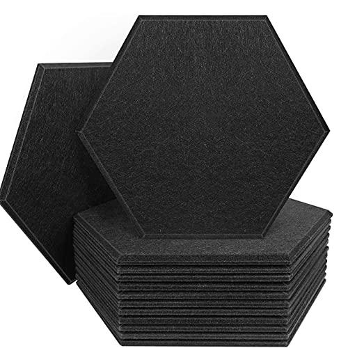 YiGanQiang Paneles acústicos hexagonales de 12 Paquetes Padding insonorizante, 12 x 7 Pulgadas Shoundpring Pads para Estudios de hogar y Oficina (Color : Black)