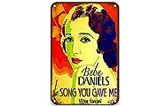 sfasf The Song You Gave Me (1934), cartel de metal con diseño de películas vintage, único para habitación al aire libre, dormitorio o baño de 20 x 30 cm