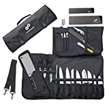 Chef Knife Roll Bag (17 Slots) Holds 12 Knives, Meat Cleaver and Kitchen Tools – Portable Knife Carrying Case Includes 2 Knife Sheaths – Bag Only
