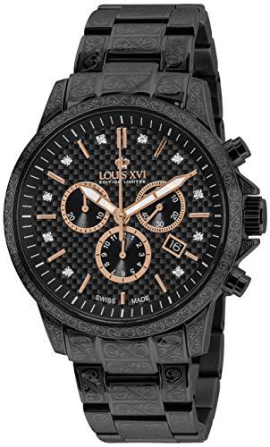 LOUIS XVI Herren-Armbanduhr Palais Royale Stahlband Schwarz Karbon echte Diamanten Chronograph Analog Quarz Edelstahl 894