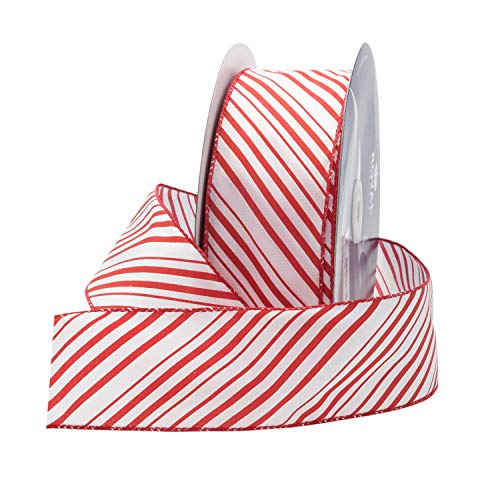 "Red/White Candy Cane Christmas Ribbon, 2.5"" (#40) Peppermint Design for Floral, Craft, Holiday Decoration, 50 Yard Roll (150 FT Spool) Bulk by Royal Imports"