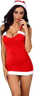 Whear Women Lingerie Lace Babydoll V Neck Sleepwear Strap Chemise Mesh Christmas Nightgown Bodysuit Jumpsuit