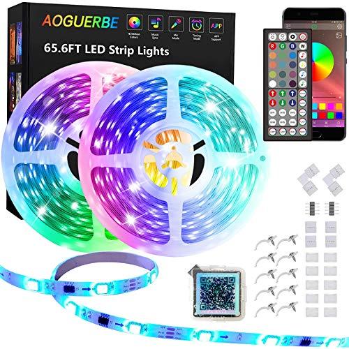 AOGUERBE Led Strip 20M,Smart RGB LED Streifen mit IR Fernbedienung,App-steuerung, Farbwechsel, Musik Sync, 5050 Bluetooth LED Lichtband für Zuhause TV Küche Party Bar Gaming Zimmer Deko