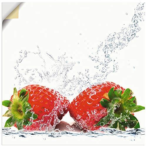 Artland Wandbild selbstklebend Vinylfolie 40x40 cm Wanddeko Wandtattoo Erdbeeren Früchte im Wasser Obst Lebensmittel T5SP
