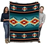 Aydin - Turquoise - Southwest Native American Inspired Tribal Camp - Cotton Woven Blanket Throw - Made in The USA (72x54)
