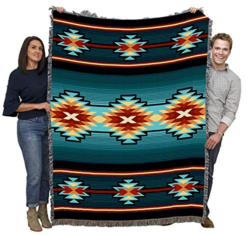 Aydin - Southwest Native American Inspired Tribal Camp Blanket Throw Woven from Cotton - Made in The USA (72x54)