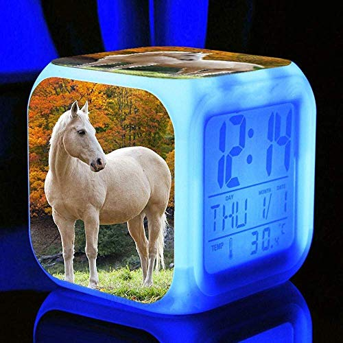 Reloj de alarma Personalizar imagen Despertar luz USB alimentado 7 Cambio de color LED Reloj que brilla intensamente para regalo de cumpleaños Multifunción Sensor táctil inteligente Lámpara de mesa Mu