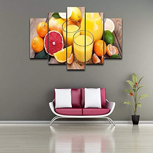 KDSFHLL 5 Dekorative Gemälde Hd 5 Stück Orange Rot Pomelo Saft Leinwand Gemälde Wohnzimmer Wohnkultur Landschaft Poster Und Drucke Plakat
